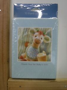 AMERICAN GREETINGS THANK YOU FOR BABY'S GIFT GIRAFFE 10 PK NOTE CARDS NEW A21732