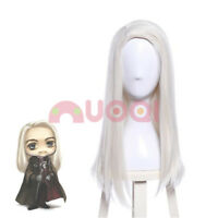 50cm Long Sliver White Full Wigs Straight Cosplay Fashion Wig Heat Resistant