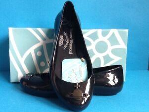 Vivienne Westwood Black Flat Shoes with Gunmetal Grey Orb Size 39/UK 6