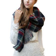 Châles/écharpe à motif Écossais bleus et carreaux pour femme
