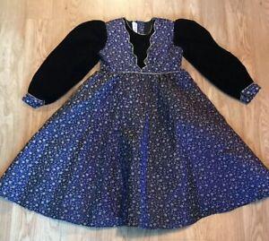 Alejandra Girls Size 8 Dress Purple Black Gold Velvet Renaissance Formal Dance