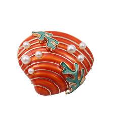 Hot Orange Red Enamel Ocean Fashion Coral Shell Pin Brooch