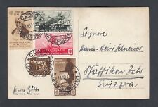 ITALY 1934 MEDAL OF VALOR COMMEMORATIVE FRANKING POSTCARD COMO TO SWITZERLAND
