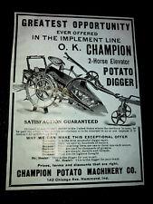 1907 Champion Potato Machinery Co. Farm Advertising - Hammond - Indiana