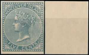 VANCOUVER ISLAND 1865, QV, 5c VALUE, IMPERFORATED NICE FORGERY STAMP.   #M901