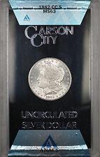 1882-CC GSA Hoard Morgan Silver Dollar $1 Coin ANACS MS-63 with Box & COA (1H)