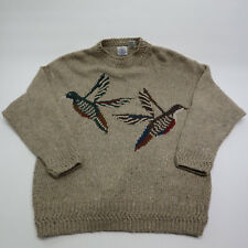 Cape Isle Knitters Mens Large Brown Knit Ducks Sweater