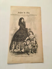 K24) Harper's Monthly Fashions For May Evening Costume Dress 1857 Engraving