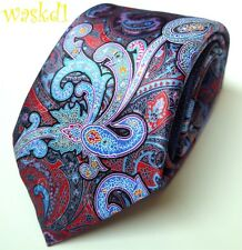 ERMENEGILDO ZEGNA Limited Edition QUINDICI red & navy PAISLEY silk Tie NWT Auth