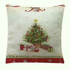 Vintage Christmas Tree Nunubee Linen Throw Pillow Case Cover 18 sq Nip