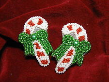 Christmas Candy Cane Pair Sequin Beaded Appliques 2531-J