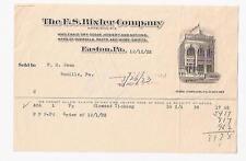 1922 Advertising Invoice Fs Bixler Co Easton Pa Dry Goods Hosiery Ticking Shirts
