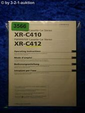 Sony Bedienungsanleitung XR C410 /C412 Car Stereo (#3566)