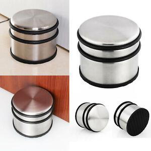 Heavy duty round chrome metal door stop rubber pad floor home practical UK