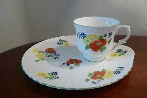 Crown Staffordshire Floral Fine English Bone China 4x Trio's Tea Room / Wedding