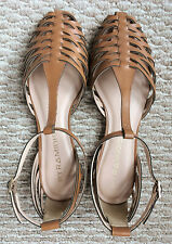 NWOB Anthropologie by Pyramidis Woven T-Strap Tan Leather Sandals - 40/US 10