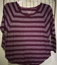 American Eagle Outfitters Burgundy Red Silver Metallic Top Women's Medium 10–12