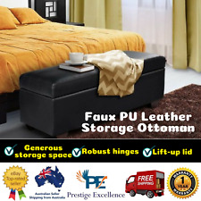 PU Leather Large Ottoman Storage Bed Blanket Linen Fabric Clothes Storage -Black