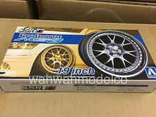 Aoshima 52556 Tuned Parts 16 1/24 SSR PROFESSOR MS3 19inch Tire & Wheel Set