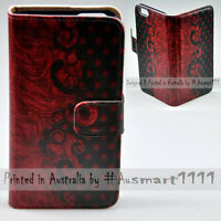 For Samsung Galaxy Series Vintage Red Damask Print Wallet Phone Case Cover