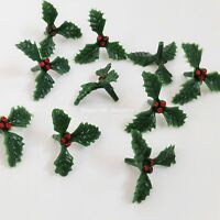 10 x small mini plastic holly festive christmas cake topper craft culpitt