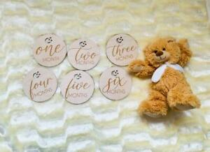 Wooden Baby Monthly Milestone Cards Plaques - Pack of 6.
