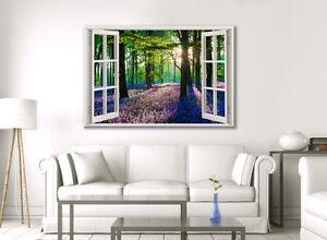 LARGE BLUE BELL FOREST FLOWERS BEAUTIFUL CANVAS ART ZEN HEATHER PICTURE PURPLE