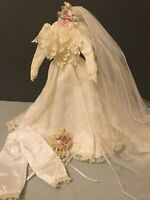 "Vintage Taffeta  & Lace Bride/Wedding Doll Dress/16"" Skinny Doll-Vail-Bouquet-W2"
