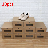 10× Shoe Boxes Organiser Drawer Foldable Stackable Storage Visible Cardboard