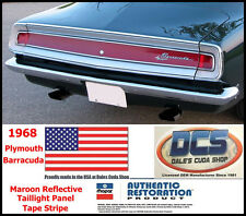 1968 Plymouth Cuda Barracuda Taillight Maroon Reflective Tape Stripe MoPar USA