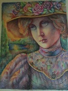 """Vtg. JOSEF M. KOZAK Original Work of Art Painting """"LOVELY LADY"""" Unframed Signed"""