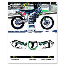 2006-2008 KAWASAKI KXF 250 Team Issue Dirt Bike Graphics Custom Number Plates