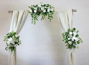 Wedding arch gazebo decoration flowers centerpieces greenery blush rustic