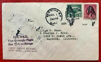 1925 US AirMail SC#C4, #599 2c & 8c First Overnight Flight  NY to Chicago Cover