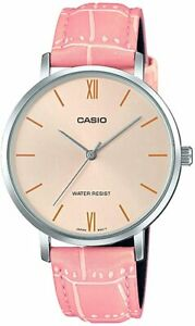 Casio LTP-VT01L-4B New Original Analog Womens Watch Pink Leather Band LTP-VT01