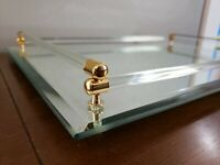 Vintage Beveled Glass Hollywood Regency Style Mirrored Tray 18x12