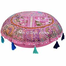 Indian Decor Round Embroidery Beaded Fabric Floor Cushion Cover Home Accent