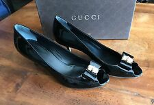 Scarpe donna GUCCI vernice nera n. 37 pelle tacco decolletee shoes patent black