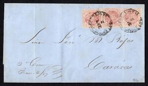 """Venezuela 1866 cover w/stamps Mi#14a used """"2 Ene"""" second day of issue RARE!! R!"""
