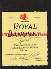 Unused 1940s ILLINOIS Peoria Gooderham Worts ROYAL BANQUET SCOTCH WHISKEY Label