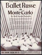 1942 Ballet Russe de Monte Carlo photo Usa tour booking trade print ad