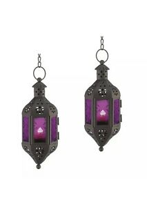 2 Pc Lot, Hanging Candle Lantern Mystical Moroccan Purple Glass Home Halloween
