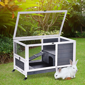 PawHut Portable Wooden Indoor Rabbit Hutch Elevated Bunny Small Animal Cage