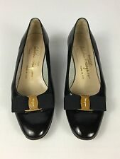 Women's Vintage Salvatore Ferragamo Black Leather BOW Low Heel Pumps - 7 AA