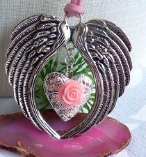 Flügel Halskette mit Foto Medaillon Schutzengel Kette Silber Vintage Style Rosa