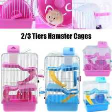 Large Hamster Cage Gerbil Mouse Mice Small Pet Cages Blue 2/3 Tiers Storey Level