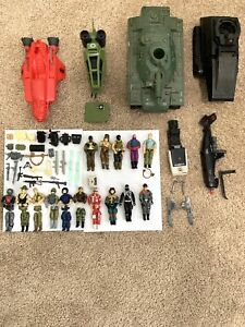 Vtg 1980's 3 3/4 GI Joe HUGE Action Figures Accessories Weapons Vehicle Lot 1
