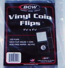 2x2 100-Double Pocket Vinyl Flip & Paper Inserts No PVC Coin Holder-BCW Brand