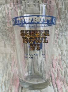 Commemorative Miller Lite Superbowl VI Dallas Cowboys Collectors Pint Glass
