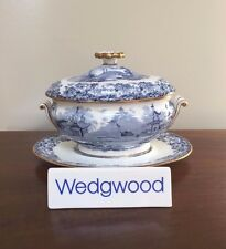 Antique Wedgwood CHINESE BLUE Etruria Sauce Boat with Lid & Underplate (1)